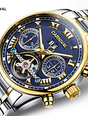 cheap Sport Watches-Carnival Men's Skeleton Watch Automatic self-winding 30 m Hollow Engraving Stainless Steel Band Analog-Digital Luxury White / Gold - Gold / Blue