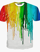 cheap Men's Shirts-Men's Sports Active Cotton T-shirt - Rainbow Print Round Neck / Short Sleeve