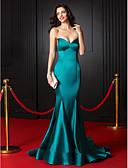 ieftine Rochii de Seară-Trompetă / Sirenă In Formă de Inimă Trenă Court Satin Stretch Stil Vedetă Seară Formală Rochie cu Pliuri de TS Couture®