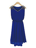 cheap Women's Dresses-Women's Going out Chiffon / Swing Dress - Solid Colored Blue, Beaded V Neck Summer Black Blue L XL XXL