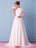 cheap Evening Dresses-A-Line Jewel Neck Sweep / Brush Train Chiffon / Sheer Lace Made-To-Measure Wedding Dresses with Appliques / Draping / Lace by LAN TING BRIDE® / Illusion Sleeve / See-Through
