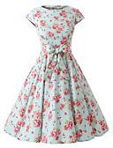 baratos Vestidos de Mulher-Mulheres Vintage Algodão Evasê Vestido - Laço Decote Canoa Altura dos Joelhos / Padrões florais