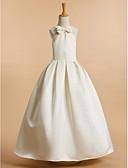 זול שמלות לילדות פרחים-גזרת A באורך הקרסול שמלה לנערת הפרחים - סאטן ללא שרוולים צווארון V עם פפיון(ים) על ידי LAN TING BRIDE®