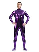 cheap Zentai Suits-Shiny Zentai Suits Skin Suit Ninja Adults' Cosplay Costumes Sex Purple Solid Colored Spandex Shiny Metallic Men's Women's Halloween / High Elasticity
