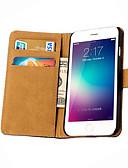 זול רצועת שעונים-מגן עבור Apple iPhone 6s Plus / iPhone 6s / iPhone 6 Plus ארנק / מחזיק כרטיסים / עם מעמד כיסוי מלא אחיד קשיח עור אמיתי