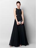 billige Aftenkjoler-A-linje Besmykket Gulvlang Chiffon Utskjæring Formell kveld Kjole med Plissert av TS Couture®