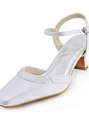 Χαμηλού Κόστους Βραδινά Φορέματα-Γυναικεία Παπούτσια Ελαστικό Σατέν Άνοιξη / Καλοκαίρι Κοντόχοντρο Τακούνι Κρυσταλλάκια / Αγκράφα Λευκό / Ασημί / Κρύσταλλο / Γάμου
