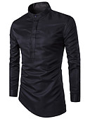 cheap Men's Shirts-Men's Plus Size Shirt - Solid Colored Standing Collar / Long Sleeve
