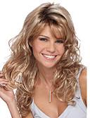 preiswerte Abendkleider-Synthetische Perücken Große Wellen Blond Mit Pony Synthetische Haare Seitenteil Blond Perücke Damen Mittlerer Länge Blondine