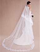 cheap Wedding Dresses-One-tier Lace Applique Edge Wedding Veil Cathedral Veils with Appliques Tulle / Classic