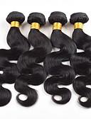 tanie Zegarki mechaniczne-4 zestawy Włosy brazylijskie Body wave Włosy virgin Fale w naturalnym kolorze 8-26 in Natura Czarny Ludzkie włosy wyplata Bezzapachowy / Jedwabisty / Gorąca wyprzedaż Ludzkich włosów rozszerzeniach