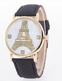 preiswerte Armband-Uhren-Damen Modeuhr Schlussverkauf Leder Band Eiffelturm Schwarz / Weiß / Blau