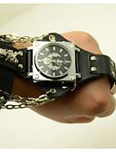 رخيصةأون قبعات نسائية-للرجال ساعات فاشن كوارتز جلد فرقة مماثل جمجمة أسود / بني - أسود