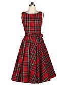 cheap Women's Dresses-Women's Vintage A Line Dress - Check, Bow