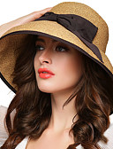 cheap Fashion Hats-Women's Street chic Bowler / Cloche Hat / Straw Hat - Solid Colored / Brown / Hat & Cap