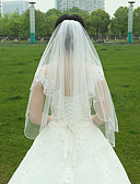 cheap Wedding Veils-Two-tier Beaded Edge Wedding Veil Fingertip Veils 53 Ruched Tulle