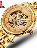 baratos Relógios Militares-nesun Homens Relógio Esqueleto Automático - da corda automáticamente Dourada 30 m Gravação Oca Analógico Amuleto / Aço Inoxidável
