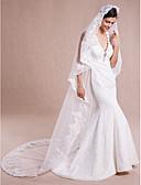 cheap Wedding Veils-One-tier Lace Applique Edge Wedding Veil Cathedral Veils 53 Sequin Appliques Lace Tulle