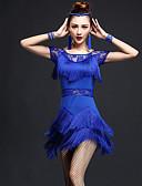 cheap Latin Dance Wear-Latin Dance Dresses Women's Performance Nylon / Chinlon Lace / Tassel Short Sleeves High Dress
