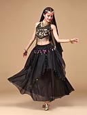 cheap Belly Dancewear-Belly Dance Outfits Women's Performance Chiffon Sequin Sleeveless Top / Skirt / Headwear