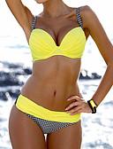 olcso Bikinik és fürdőruhák 2017-Női Pántos Narancssárga Sárga Piros Merész Bikini Fürdőruha - Kockás Nyomtatott M L XL