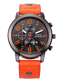 cheap Dress Watches-Men's Fashion Watch Japanese Calendar / date / day / Casual Watch Leather Band Charm Black / Red / Orange