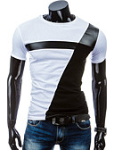 cheap Men's Jackets & Coats-Men's Sports Cotton Slim T-shirt - Color Block Black & White, Patchwork Round Neck / Short Sleeve