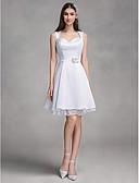 billige Brudekjoler-A-linje Kæreste Knælang Satin Made-To-Measure Brudekjoler med Blonde ved LAN TING BRIDE® / Små Hvide Kjoler