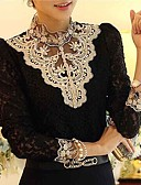 cheap Women's Skirts-Women's Blouse - Patchwork Black & White Stand / Lace / Fall