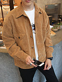cheap Men's Jackets & Coats-Men's Street chic Loose Jacket-Solid Colored Shirt Collar