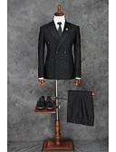 お買い得  スーツ-ブラック パターン スリムフィット ポリエステル スーツ - ノッチドラペル ダブルブレスト 二つボタン