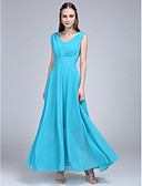 cheap Bridesmaid Dresses-A-Line V Neck Ankle Length Chiffon Bridesmaid Dress with Side Draping / Ruched by LAN TING BRIDE®