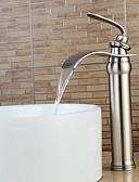 halpa Mekot-Nykyaikainen Integroitu Vesiputous Laajallle ulottuva Keraaminen venttiili Yksi kahva yksi reikä Harjattu nikkeli, Kylpyhuone Sink hana
