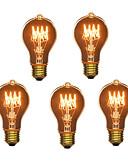 preiswerte Damen Nachtwäsche-5 Stück 40W E26 / E27 A60(A19) Warmes Weiß 2300k Retro / Abblendbar / Dekorativ Glühbirne Vintage Edison Glühbirne 220-240V