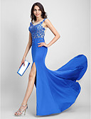 cheap Evening Dresses-Mermaid / Trumpet Illusion Neck Sweep / Brush Train Tulle / Jersey Formal Evening Dress with Appliques by TS Couture®
