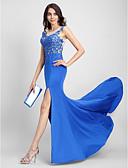 Χαμηλού Κόστους Βραδινά Φορέματα-Τρομπέτα / Γοργόνα Illusion Seckline Ουρά Τούλι / Ζέρσεϊ Επίσημο Βραδινό Φόρεμα με Διακοσμητικά Επιράμματα με TS Couture®