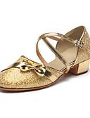 hesapli Gelin Şalları-Kadın's Latin Dans Ayakkabıları Işıltılı Simler / Payetli Topuklular Fiyonk / Payet / Işıltılı Pullar Düz Taban Kişiselleştirilmiş Dans Ayakkabıları Gümüş / Altın / İç Mekan / Egzersiz