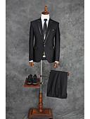 hesapli Takım Elbiseler-Siyah Solid Kişiye Özel Kalıp Polyester Takım elbise - Çentik Tek Sıra Düğmeli Bir Düğme