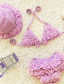 cheap Girls' Tops-Sports Floral Swimwear, Polyester Summer Purple Yellow Red Pink Light Blue