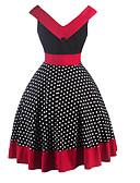 preiswerte Damen Kleider-Damen Ausgehen Retro Baumwolle A-Linie Kleid Punkt Knielang V-Ausschnitt Hohe Hüfthöhe / Sommer