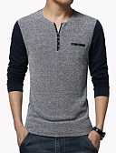 cheap Men's Tees & Tank Tops-Men's Sports / Work Plus Size Cotton Slim T-shirt - Color Block / Patchwork / Long Sleeve