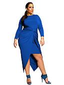 hesapli Büyük Beden Elbiseleri-Kadın's Sokak Şıklığı Kılıf Elbise - Solid, Dantelli Bisiklet Yaka Asimetrik