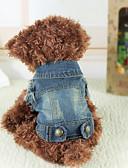 economico T-Shirt da donna-Cane Giacche di jeans Abbigliamento per cani Jeans Blu Jeans Costume Per Primavera & Autunno Inverno Per uomo Per donna Cowboy Di tendenza