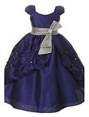 Χαμηλού Κόστους Λουλουδάτα φορέματα για κορίτσια-Βραδινή τουαλέτα Μακρύ Φόρεμα για Κοριτσάκι Λουλουδιών - Οργάντζα Κοντομάνικο Scoop Neck με Φιόγκος(οι) με LAN TING Express