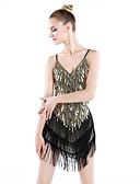cheap Latin Dance Wear-Latin Dance Dresses Women's Performance Polyester / Spandex Sequin / Tassel Dress / Samba