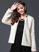 cheap Women's Fur & Faux Fur Coats-Women's Daily / Going out Basic Winter Plus Size Short Fur Coat, Solid Colored Round Neck Long Sleeve White