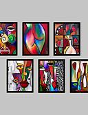 abordables Vestidos de cóctel-Abstracto Fantasía Lienzo enmarcado Conjunto enmarcado Arte de la pared,PVC Material Negro Passepartout no incluido con Marco For