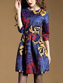お買い得  レディースドレス-女性用 プラスサイズ Aライン ドレス - プリーツ プリント 膝上