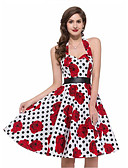 cheap Vintage Dresses-Women's Floral Going out Vintage A Line Dress - Polka Dot Print Halter Neck Summer White Black L XL XXL