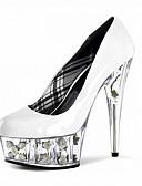 preiswerte Kleider in Übergröße-Damen Schuhe Lackleder Frühling / Sommer Leuchtende LED-Schuhe / Club-Schuhe High Heels Stöckelabsatz / Plattform / Kristallabsatz Kariert